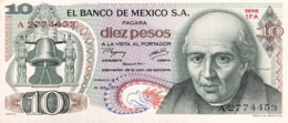 Mexico 10 Pesos, P-63i (18.2.1977) - UNC - Serie 1FA - Mexico