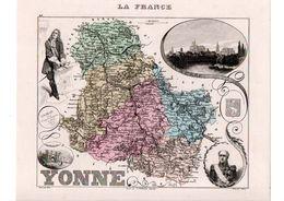 Carte Du Département De L'Yonne, Dressée Par Vuillemin. Atlas Migeon 1874-76 - Carte Geographique