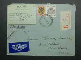 1945 Lettre Recommandée De Toulouse à Casablanca - Maroc Yvert 602, 735 Armoiries Flandre Strasbourg - France