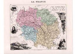 Carte Du Département De La Creuse, Dressée Par Vuillemin. Atlas Migeon 1874-76 - Carte Geographique