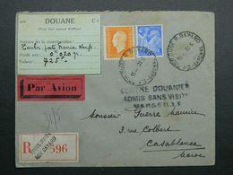 1945 Lettre Recommandée De Toulouse à Casablanca - Maroc Yvert 656, 697 Marianne Dulac Iris - 1944-45 Maríanne De Dulac