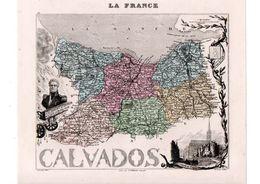 Carte Du Département Du Calvados, Dressée Par Vuillemin. Atlas Migeon 1874-76 - Carte Geographique