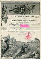 Certificat De Bonne Conduite D'un Chasseur Du 15 ° Bataillon De Chasseurs Alpins - Documentos