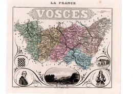 Carte Du Département Des Vosges, Dressée Par Vuillemin. Atlas Migeon 1874-76 - Carte Geographique