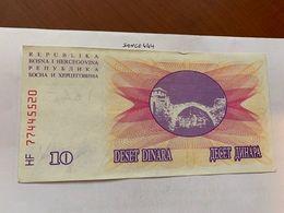 Bosnia 10 Dinara Circulated  Banknote 1992 #11 - Bosnië En Herzegovina