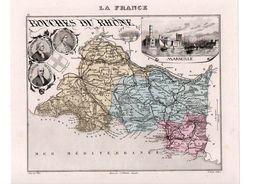 Carte Du Département Des Bouches Du Rhône, Dressée Par Vuillemin. Atlas Migeon 1874-76 - Carte Geographique