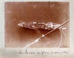 """Photographie Circa 1900 - Toulon """" La Foudre """" Croiseur Porte Torpilleurs Et Porte-sous Marins Vue Prise En Ballon - Barcos"""
