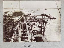 """Photographie Circa 1900 - Toulon - Intérieur Du Navire  """" Foudre """" Croiseur Porte Torpilleurs Et Porte-sous Marins - Schiffe"""