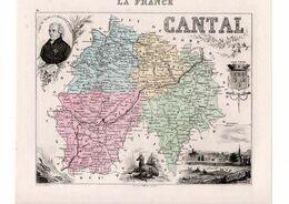 Carte Du Département Du Cantal, Dressée Par Vuillemin. Atlas Migeon 1874-76 - Carte Geographique