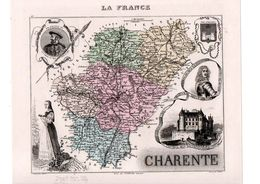 Carte Du Département De La Charente, Dressée Par Vuillemin. Atlas Migeon 1874-76 - Carte Geographique