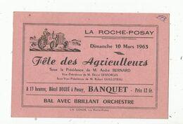Menu , 1963 , 86 ,LA ROCHE POSAY ,  FÊTE DES AGRICULTEURS , à 13 Heures , Hotel Dugué à Posay : Banquet , Bal - Menus