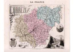 Carte Du Département De La Corrèze, Dressée Par Vuillemin. Atlas Migeon 1874-76 - Carte Geographique