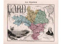 Carte Du Département Du Gard, Dressée Par Vuillemin. Atlas Migeon 1874-76 - Carte Geographique