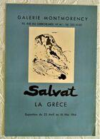 AFFICHE ANCIENNE ORIGINALE EXPOSITION SALVAT 1964 La Grèce Galerie Montmorency Paris 6è - Affiches