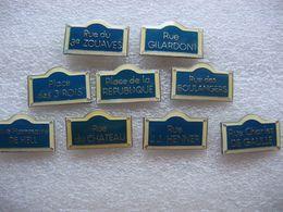 9 Pin's De Plaques De Rues - Cities