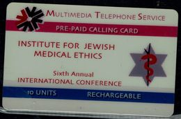 USA 1995 PREPAID CARD INSTITUTE FOR JEWISH MEDICAL ETHICS MINT VF!! - Israele