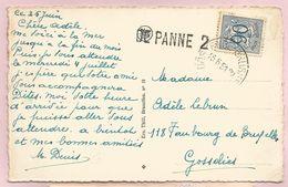 Belgique - Griffe Linéaire DE PANNE 2 + Ambulant OOSTENDE-BRUSSEL Carte De St-Idesbald - Lion Héraldique 90c N°858 - Lineari