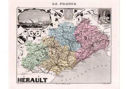 Carte Du Département De L'Hérault, Dressée Par Vuillemin. Atlas Migeon 1874-76 - Carte Geographique