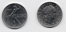 50 Lire – Italie – 1955 – Vulcain – Acier – Etat TTB – KM 95.1 - 1946-… : República