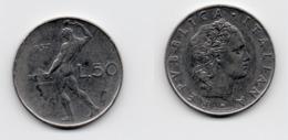 50 Lire – Italie – 1957 – Vulcain – Acier – Etat TTB – KM 95.1 - 1946-… : República