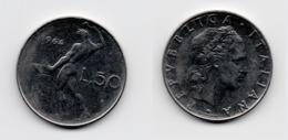 50 Lire – Italie – 1964 – Vulcain – Acier – Etat TTB – KM 95.1 - 1946-… : República