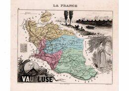 Carte Du Département Du Vaucluse, Dressée Par Vuillemin. Atlas Migeon 1874-76 - Carte Geographique