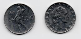 50 Lire – Italie – 1969 – Vulcain – Acier – Etat TTB – KM 95.1 - 1946-… : República