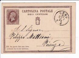 Italia 1874 Intero Cartolina Postale Vittorio Emanuele II Da Como - Entiers Postaux