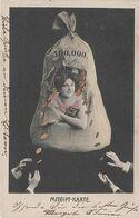 Künstlerkarte AK Mitgift Karte Mitgiftkarte 500.000 Reichsmark Mark Aussteuer Geldsack Hochzeit Heirat Braut Dowry Dot - Hochzeiten