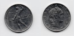 50 Lire – Italie – 1974 – Vulcain – Acier – Etat TTB – KM 95.1 - 1946-… : República