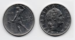 50 Lire – Italie – 1976 – Vulcain – Acier – Etat TTB – KM 95.1 - 1946-… : República