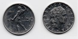 50 Lire – Italie – 1977 – Vulcain – Acier – Etat TTB – KM 95.1 - 1946-… : República