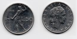 50 Lire – Italie – 1978 – Vulcain – Acier – Etat TTB – KM 95.1 - 1946-… : República