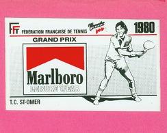 AUTOCOLLANT STICKER.  SAINT  OMER.  FEDERATION FRANCAISE DE TENNIS.  GRAND PRIX  MARLBORO 1980 - Stickers