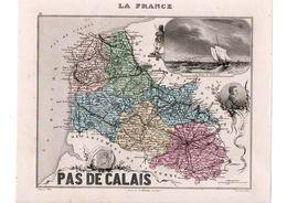 Carte Du Département Du Pas De Calais, Dressée Par Vuillemin. Atlas Migeon 1874-76 - Carte Geographique