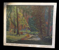 [FORET Huile Sur Panneau, Signée] Rivière Dans Le Sous-bois. - Oils