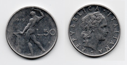 50 Lire – Italie – 1979 – Vulcain – Acier – Etat TTB – KM 95.1 - 1946-… : República