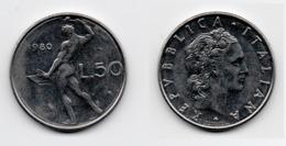 50 Lire – Italie – 1980 – Vulcain – Acier – Etat TTB – KM 95.1 - 1946-… : República