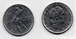 50 Lire – Italie – 1981 – Vulcain – Acier – Etat TTB – KM 95.1 - 1946-… : República