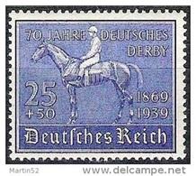 """Deutsches Reich Allemagne Germany 1939: """"Deutsches Derby"""" Michel-No 698 ** Postfrisch MNH (Michel € 80.00) - Reitsport"""