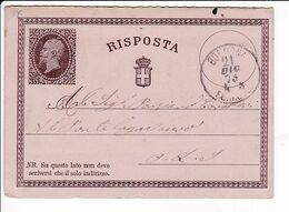 Italia 1876 Intero Cartolina Postale Vittorio Emanuele II RISPOSTA Da Bologna - Entiers Postaux