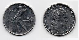 50 Lire – Italie – 1982 – Vulcain – Acier – Etat TTB – KM 95.1 - 1946-… : República