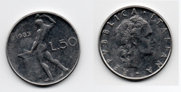 50 Lire – Italie – 1983 – Vulcain – Acier – Etat TTB – KM 95.1 - 1946-… : República