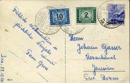 56531 Italia, Card Circuled 1948 With  2 Segnatasse  Tax  Lire 2 And Lire 10 From Seis Jenesien Bozen - Impuestos