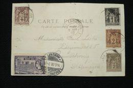 Quadricolore  Sage (1,2,3 Et 4c) + Vignette Espagne Sur CP (arabes De La Rue D'alger) Cachet Paris Exposition 13/06/1900 - 1876-1898 Sage (Type II)