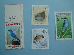 Oiseaux Bird Autriche Etats-Unis Nouvelle Zélande Lot De 4 Timbres Yv 1747 - 1885 - 1126/7 ** MNH - Non Classificati