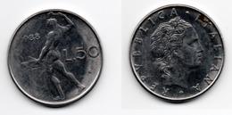 50 Lire – Italie – 1988 – Vulcain – Acier – Etat TTB – KM 95.1 - 1946-… : República