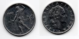 50 Lire – Italie – 1989 – Vulcain – Acier – Etat TTB – KM 95.1 - 1946-… : República