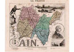 Carte Du Département De L'Ain, Dressée Par Vuillemin. Atlas Migeon 1874-76 - Carte Geographique