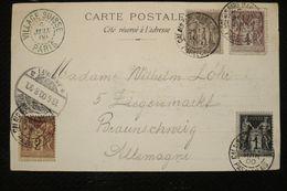 Quadricolore  Sage (1,2,3 Et 4c) + Cachet Bleu Village Suisse  Sur CP  Paris Exposition Calais 17/06/1900 - 1876-1898 Sage (Type II)